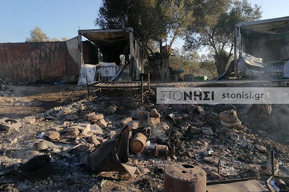 Φωτιά στη Μόρια: Εικόνες καταστροφής στο ΚΥΤ