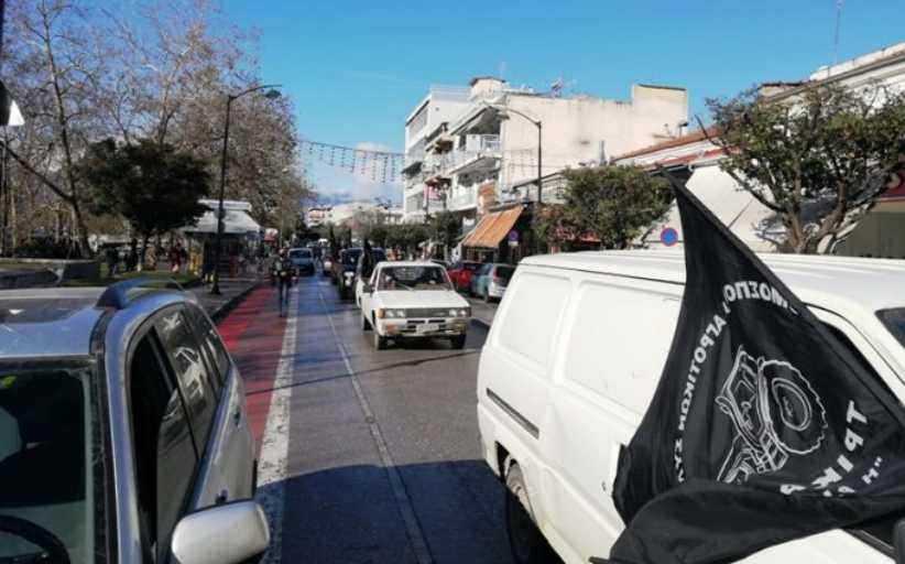 Τρίκαλα: Μηχανοκίνητη πορεία αγροτών στο κέντρο της πόλης