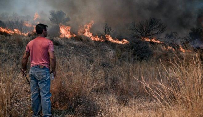 Ανεξέλεγκτες οι φωτιές σε Κερατέα και Βίλια