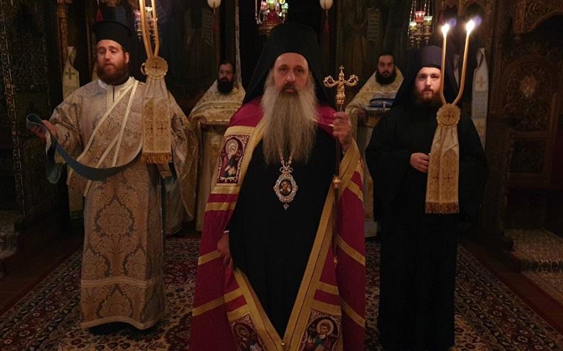 Ο Σεβ.Μητροπολίτης Σταγών και Μετεώρων κ.Θεόκλητος στην αγρυπνία της Παναγίας Μετεωριτίσσης.